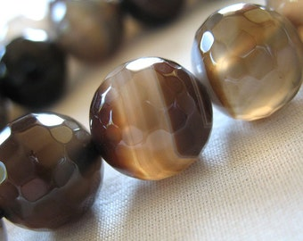 12mm Micro Faceted Brown Tan White  Round Beads, large 12mm, full strand, 33 beads, 15.5""