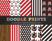 Digital Scrapbook Printable Paper Set - Pirate Digital Paper - Pirate Birthday Party - Pirate Boat - Personal Use Only
