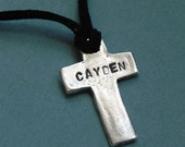 Boys Personalized Silver Cross Necklace- First Communion Baptism Confirmation gift