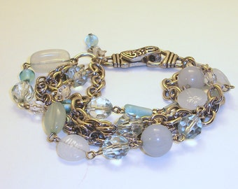 FREE SHIPPING Multi Chain Silver and Blue Bracelet