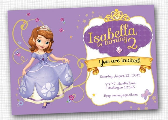 Items Similar To Sofia The First Invitation Printable On
