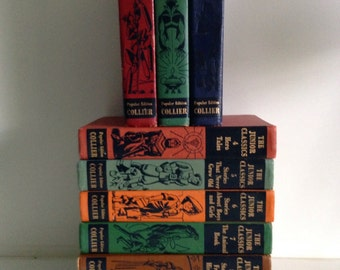 9 Vintage Collier Junior Classics Books - Instant Collection 1940s