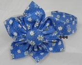 Dog Collar with Fabric Flower Set Estelas Flower Garden Blue White Flowers Or Fabric Flower Only Choose SIZE  Adjustable Collars with D Ring
