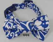 Dog Collar Fabric Bow Tie Set Classic Hawaiian Paradise Tropical BLUE White Floral Flower His and Hers CHOOSE SIZE Adjustable D Ring Pets