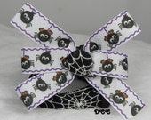 Dog Collar Fun Halloween Glow in the Dark Spider Webs Spooky Scary Black White Theme Cat Season w Ribbon Bow Adjustable w D Ring Choose Size