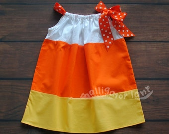 Candy Corn Dress Pillow Case Dress Halloween Dress Yellow Orange White Girls Toddler Dress Candycorn Pillowcase Dress Candy Corn Costume AlligatorLane & HALLOWEEN! curated by Babble on Etsy pillowsntoast.com