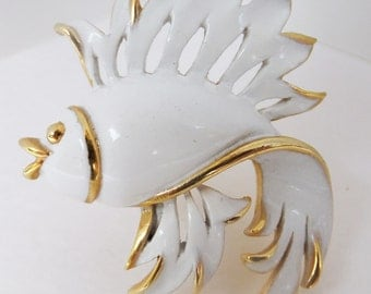 Vintage jewelry brooch in white on gold enamel fish wedding brooch