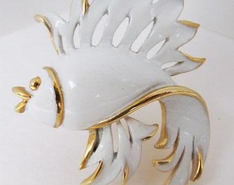 Vintage jewelry brooch in white on gold enamel fish wedding brooch Sale half off