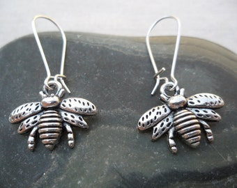 Silver Bee Earrings - Bumble Bee Jewelry - Simple Everyday Silver Earrings
