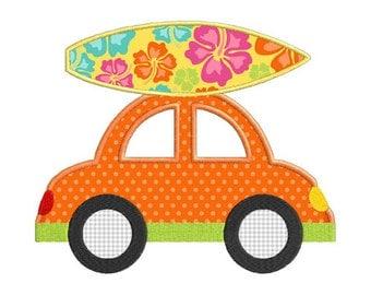Summer Surf Car Individual APPLIQUE Machine Embroidery Designs