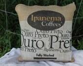 Coffee Bean Burlap Sack Pillow Cover