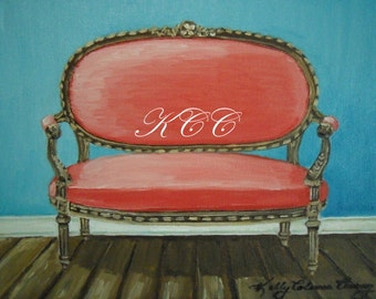 Fine Art Print of my Original Oil Painting- Coral Settee