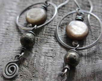 Sale! Luna - sterling silver and Mica earrings