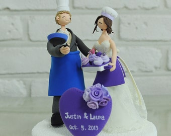 Chef couple custom wedding cake topper decoration gift