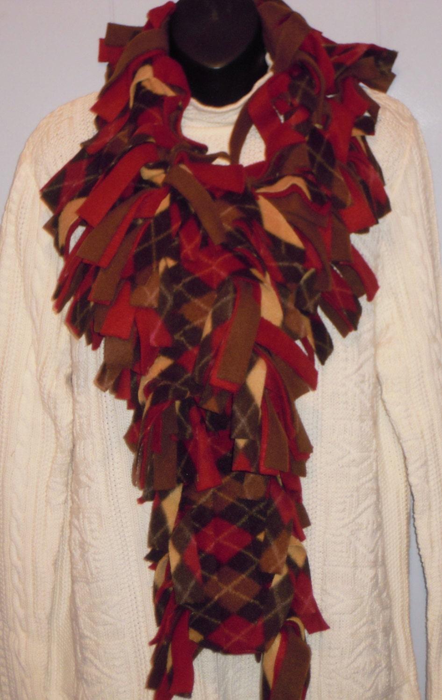 fringe fleece scarf boa wrap maroon brown gold by twochixremix