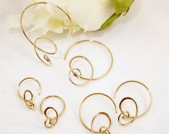 Curly hoops 14k gold
