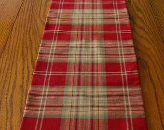 Table Runner-double sided- Rust and Green Plaid and floral - 53 by 11