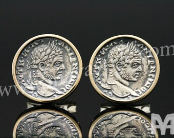 Sterling Silver & Gold Caracalla Coin Replica Cufflinks