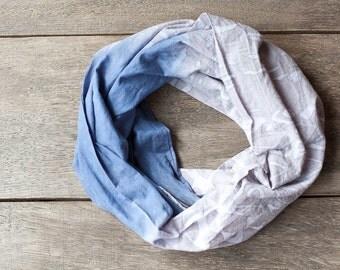 Ombré Infinity Scarf Versatile Cowl Loop scarf Indigo Blue Jean Denim Taupe tribal modern urban minimalist