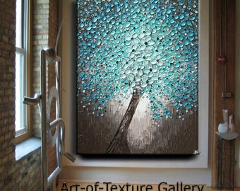 Huge Oil Impasto Painting Original Abstract Texture Modern Hallway Aqua Blue Brown White Floral Tree Sculpture Knife Painting by Je Hlobik
