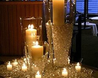 Wedding DIAMOND Crystal Confetti Candle Centerpiece Decoration Vase Filler Table Scatter Crystal decor Winter Shabby White Wedding