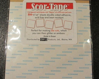 "Five - 6"" x 6"" Double-sided Adhesive Sheets - By Scor Tape"
