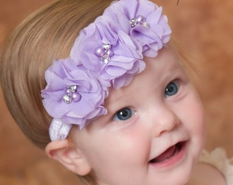 Baby Headband, Lavender Headband,Baby girl Headband,Newborn Headband,Baby Headbands,Shabby Chic Flower Headband, Easter Headband,Hair Bows.