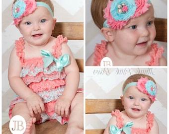 Petti lace romper and headband SET, petti romper,baby headband, flower headband, shabby chic headband headband and lace petti romper.