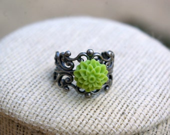 Mini Me Lime Green Dahlia Ring