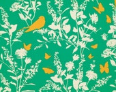 Swallow Study in Emerald PWJD070 - BUNGALOW by Joel Dewberry - Free Spirit Fabric - By the Yard