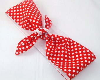 Head Scarf, Red and White Polka Dots with White Solid Rosie the Riveter 40s Hair Rockabilly Pin Up Headscarf Headband Bandanna
