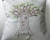 Personalized Pillow Family Tree Initials OR Monogram. Shades of Green. Mother's Day for Wife. Anniversary. Gift for Mother-in-law. Grandma.