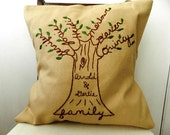 Personalized Family Tree Pillow Cover. Anniversary Gift for Parents. Family Pillow. Gift for Parents. Mom Birthday Gift. Grandma Gift.