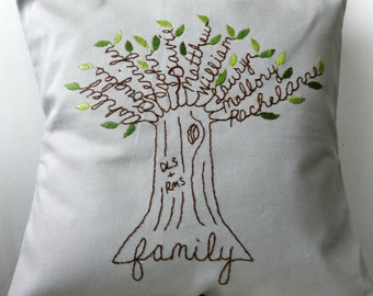 Personalized Pillow Family Tree Initials. Father's Day Personalized. Wedding Anniversary. Parents of Bride Gift. Parents of the Groom.