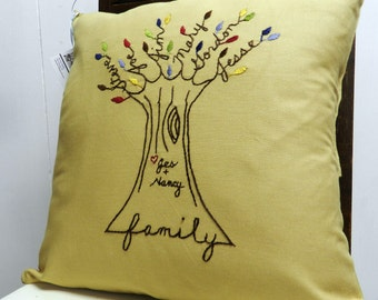 Personalized Family Tree Pillow. Multicolored Leaves. Gift for Mom Dad. Birthday. Parents Anniversary. Love. Mothers Day Gift from children.