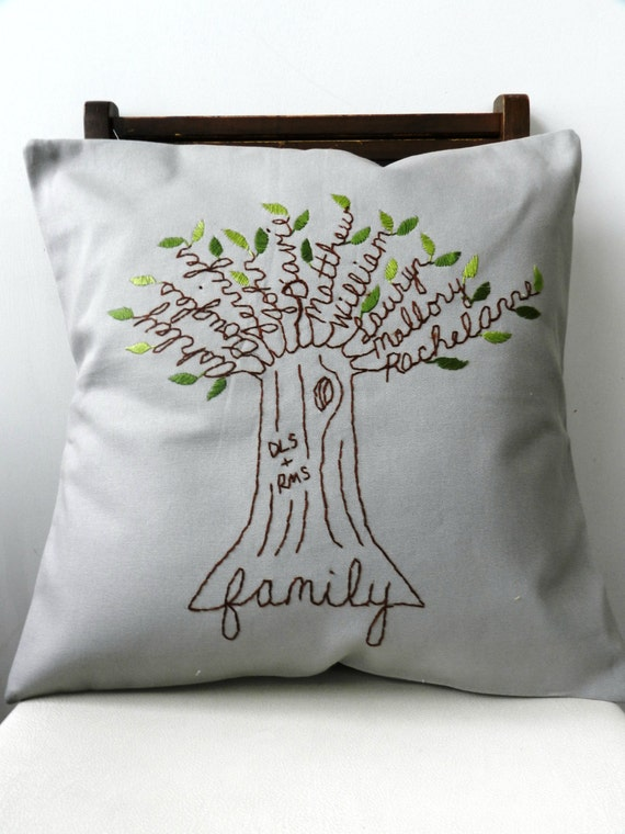 Personalized Pillow Family Tree Initials OR Monogram. Family Pillow. Mothers Day. Mom. Wedding Anniversary Gift. Gift for Parents of Bride.