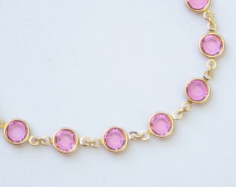 Gold Birthstone Bracelet, October Birthstone Jewelry, Pink Tourmaline Swarovski Crystal Birthstone Bracelet