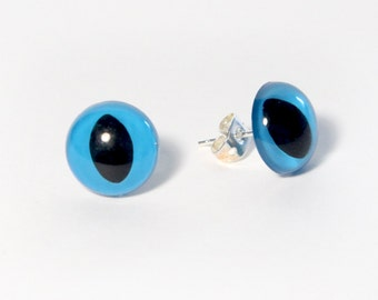 Blue Kitty Eye Earrings