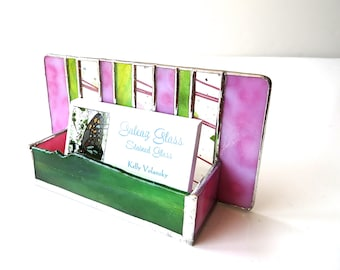 Contemporary Stained Glass Business Card Holder Pink Green Confetti Art Glass Modern Office Decor Desk Accessory Handmade