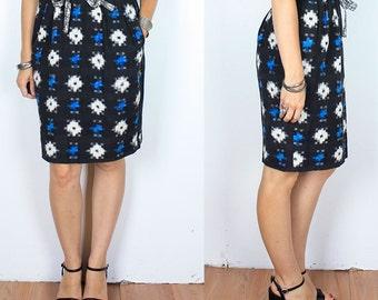 Vintage 70s Woven Ikat High Waist Skirt