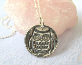 Owl Necklace, Silver Owl Necklace, Whimsical Owl Pendant, Owl Jewelry, Rustic Silver Jewelry