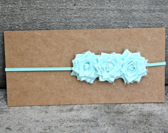 Headband, Skinny Elastic Headband with 3 Small Aqua Folded Fabric Flowers, made to size