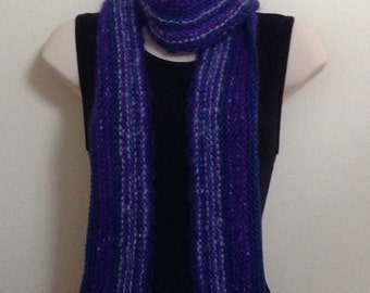 Hand Knit Scarf, Purple Extra Long Scarf, Mohair One of a Kind Blend of colors, gifts for her