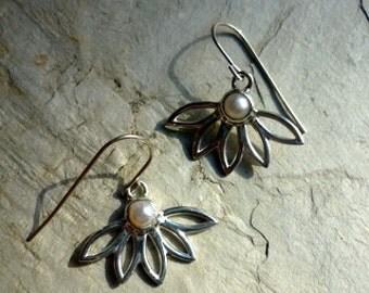 Sterling Silver Earrings, Flower Shape Earrings, Flower Petals Earrings, Silver and Pearl Earrings, White Pearl Earrings, Dangle Flower.
