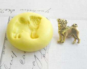 PUG - Flexible Silicone Mold - Push Mold, Jewelry Mold, Polymer Clay Mold, Resin Mold, Craft Mold, Food Mold, PMC Mold