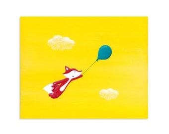 Fox's Magic Balloon Ride - Whimsical Fox Art - Original Painting Print