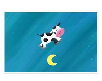 11x17 Poster - Cow Jumping Over the Moon - Nursery Rhyme Poster Art