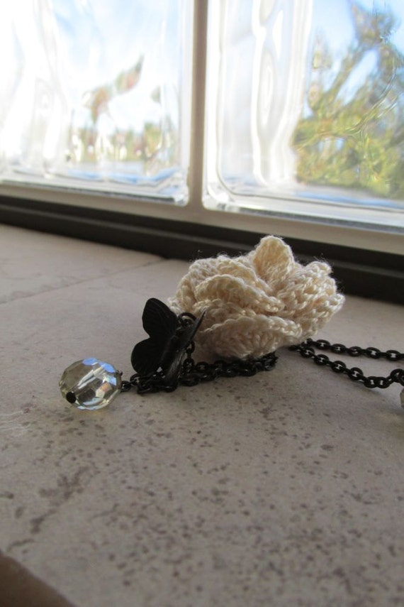 Crocheted Jewelry - Crochet Necklace - Butterfly and Rose