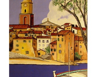 SAINT-TROPEZ, Mediterranean Sea South France, French Riviera, La Ponche, Original illustration Artist Print Wall Art, Free Shipping in USA.