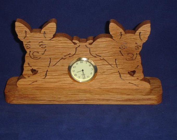 Chihuahua Puppies Desk Clock Handcrafted from Oak Wood